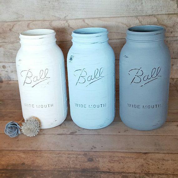 White Powder Blue and Dusty Slate 1/2 gallon by StellaDesignsShop