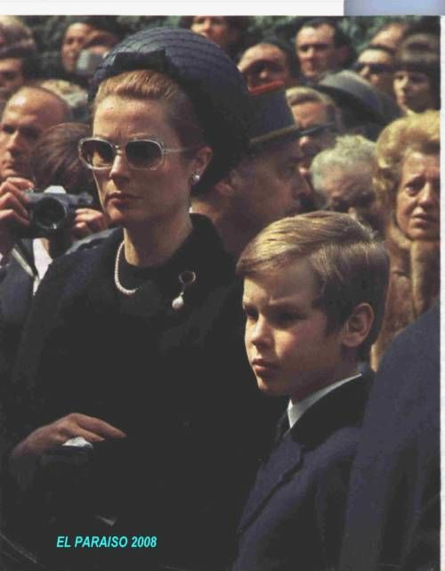Princess Grace and Prince Albert of Monaco at Queen Maria Eugenia of Spain´s funeral. She was Albert´s godmother.