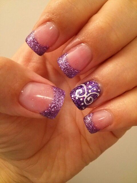 Purple glitter French tip with design. I would do on thumb and ring finger