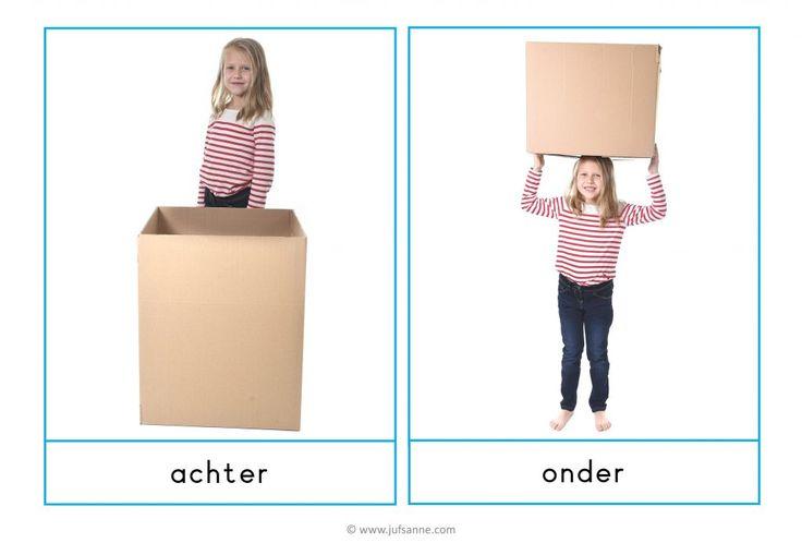 Starterset Begrippenkaarten » Juf Sanne Acht fotokaarten van plaatsbepalende begrippen: achter, onder, in (2x), op, tussen, naast, voor.