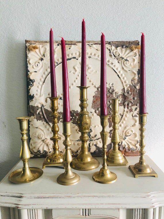 Vintage Brass Candlestick Holders Mismatched Set Of 8 Wedding Etsy Brass Candlesticks Vintage Brass Candlesticks Candlesticks