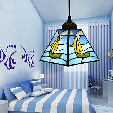 22*16*12CM Tiffany Stained Glass Contemporary And Contracted Mediterranean Single-Head Sailing Line Droplight Lamp LED Pendant Light