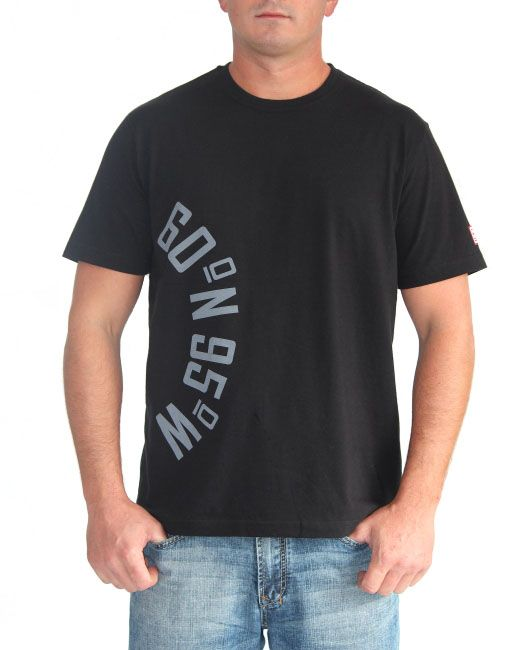 Black t-shirt with curved coordinates graphic  | 60°N 95°W | 60N95W.com