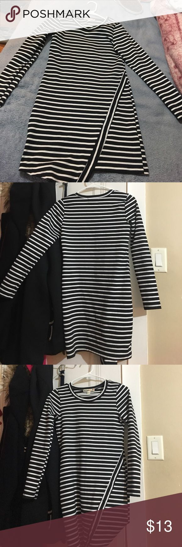 Black and white stripped long sleeve dress Black and white long sleeve dress. Only worn once. Thick material S. O. r. a. d  Dresses Midi