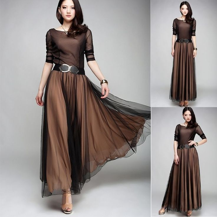 Womens Party Club Vogue Elegant 150Sw Nude Color Long Evening Prom Ball Dress  Fashion -8298
