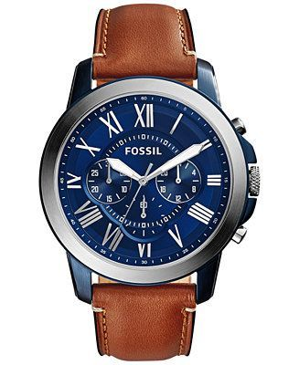 Fossil Men's Chronograph Grant Light Brown Leather Strap Watch 44mm fs5151 - Watches - Jewelry & Watches - Macy's