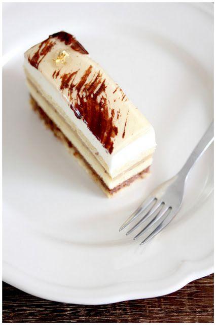 Hidemi Sugino's B-Caraibe: Biscuit joconde (almond), chocolate orange chantilly cream, banana sauce, vanilla chantilly cream