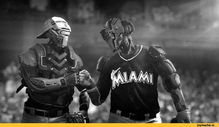 Nick Foreman,Sci-Fi,art,арт,красивые картинки,бейсбол,роботы