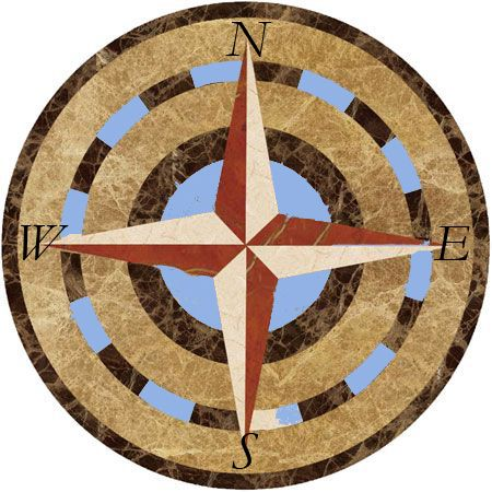 Compass rose mosaic mural .  www.mosaicsyourway.com