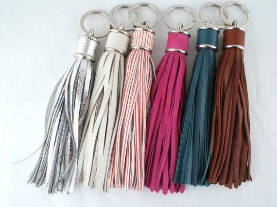 Leather TASSEL keychain...hot pink please