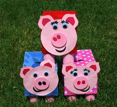 biggetejs knutselen uit kleenex dozen. tip: Je kan de dozen beschilderen/beplakken volgens de 3 huisjes (hout, stro, steen)
