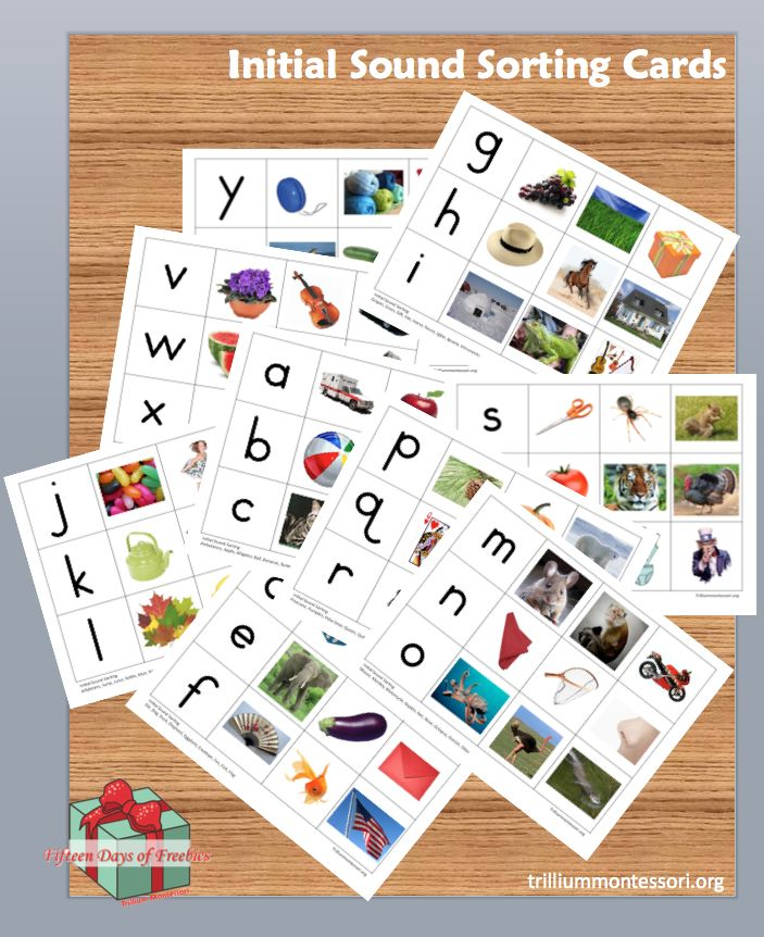 Initial Sound Sorting Cards and 14 more different sets of Montessori printables  (free though New year's Day 2014)