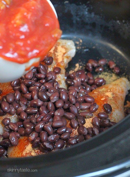 Crock Pot Chicken and Black Bean Taco Salad   Crock Pot Chicken, Crock ...