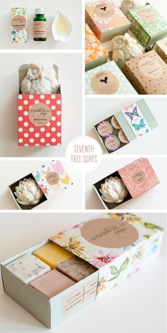 Really fun soap and packaging designs. Lovely patterns and a super cute owl!