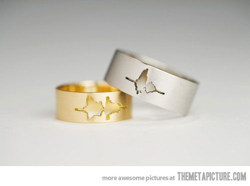 """Wedding rings with the waveform of the couple's own voices. """"I do""""."""