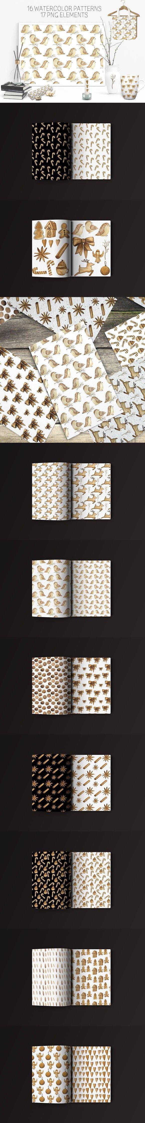 Warm watercolor Christmas patterns. Wedding Card Templates