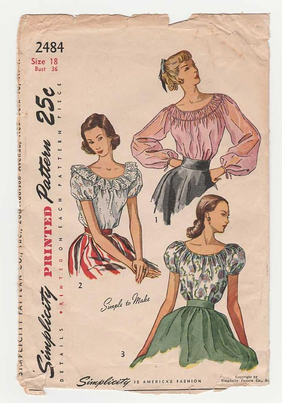 Women's Blouse Sewing Pattern Peasant Style Misses Size
