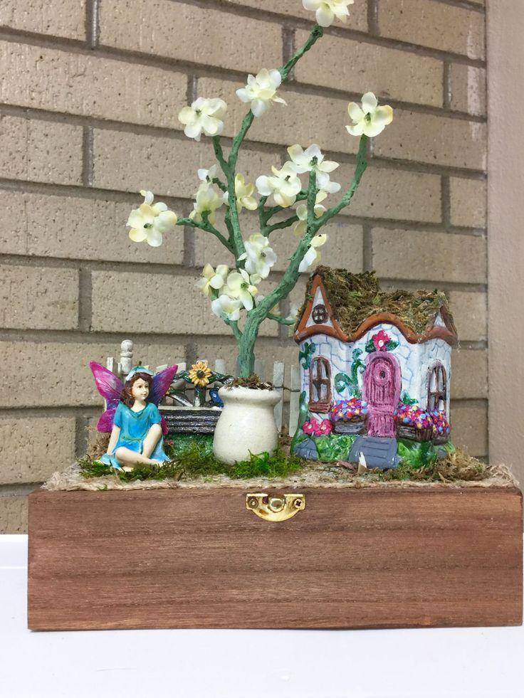 Fairy Garden Tree Branch Centerpiece Michelle Dornstreich by BirdhousesByMichelle on Etsy