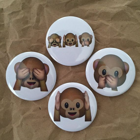 Monkey emoji buttons by HypotheticalButtonCo on Etsy