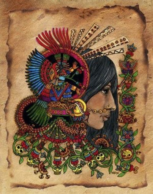 """neomexicanismos:  Xochiquetzal: Es una de las diosas relacionada con la fertilidad de la naturaleza y la belleza. """"Flor preciosa"""", nació de los cabellos de la diosa madre."""