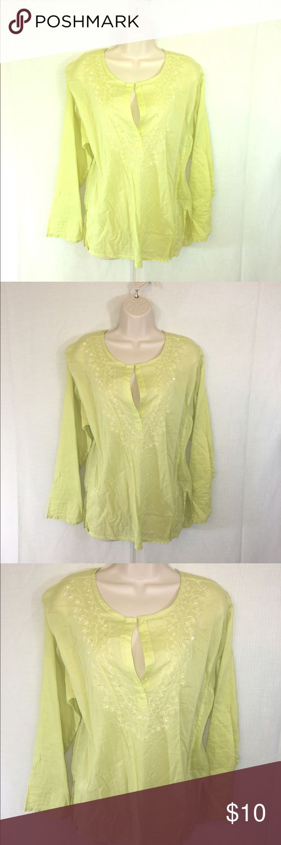 Oversized Green Shirt-M A pretty and breezy green top in a fun color and pattern. Can be paired with anything for a go to casual summer look! Perfect for throwing over a Swimsuit to the beach to protect a summer glow! Route 66 Tops Blouses