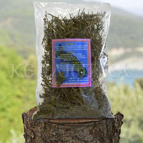 Θυμάρι Βότανα και αρωματικά φυτά από το Άγιο Όρος καλλιέργεια επεξεργασία συσκευασία Ιερόν Ιβηρίτικον Κελλίον Θείας Αναλήψεως  Το θυμάρι έχει αντισηπτικές ιδιότητες και είναι τονωτικό προλαβαίνει το κρύωμα, ρίχνει τον πυρετό ενώ βοηθάει και στην ανακούφιση από το βήχα, το συνάχι και τη γρίπη.