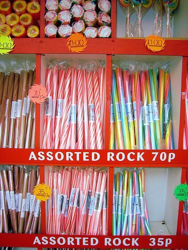 Sticks of rock at the seaside.