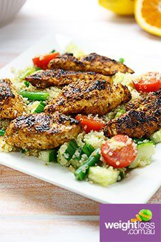 Spicy Chicken Quinoa Salad. #HealthyRecipes #DietRecipes #WeightLossRecipes weightloss.com.au
