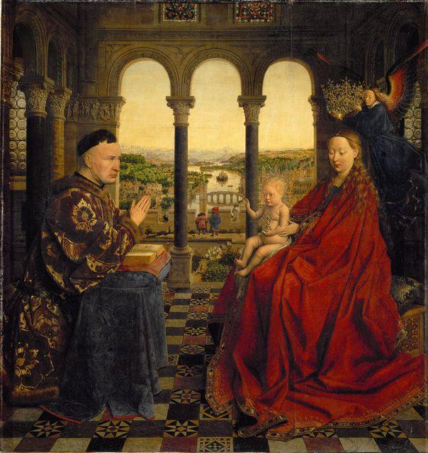 Jan van Eyck   Virgin and Child with Chancellor Rolin (ca. 1430)   Artsy