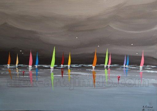 """""""Voiliers sous l'orage"""", France, Peinture acrylique sur toile, 1m x 65cm, Alexis Crémet"""