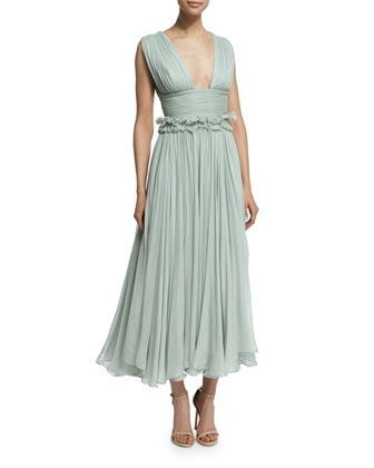 Kamalame+Pleated+Chiffon+Midi+Dress,+Light+Green+by+Maria+Lucia+Hohan+at+Bergdorf+Goodman.