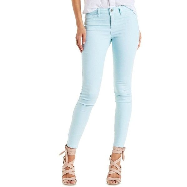 """Charlotte Russe Baby Blue Refuge """"Skin Tight Legging"""" Colored Skinny... ($30) ❤ liked on Polyvore featuring baby blue"""