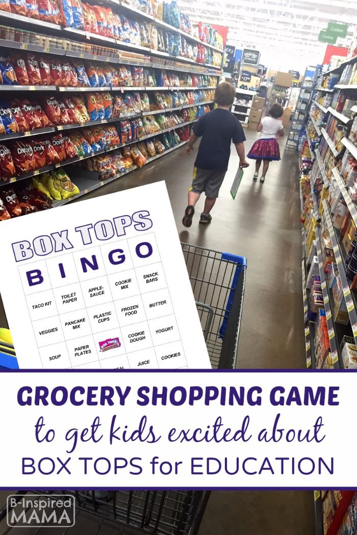 Box Tops Bingo Grocery Shopping Game - A Free Printable - at B-Inspired Mama - Sponsored by #BTFE