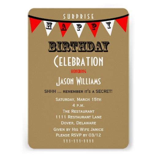 Surprise Adult Birthday Party Invitations For Men