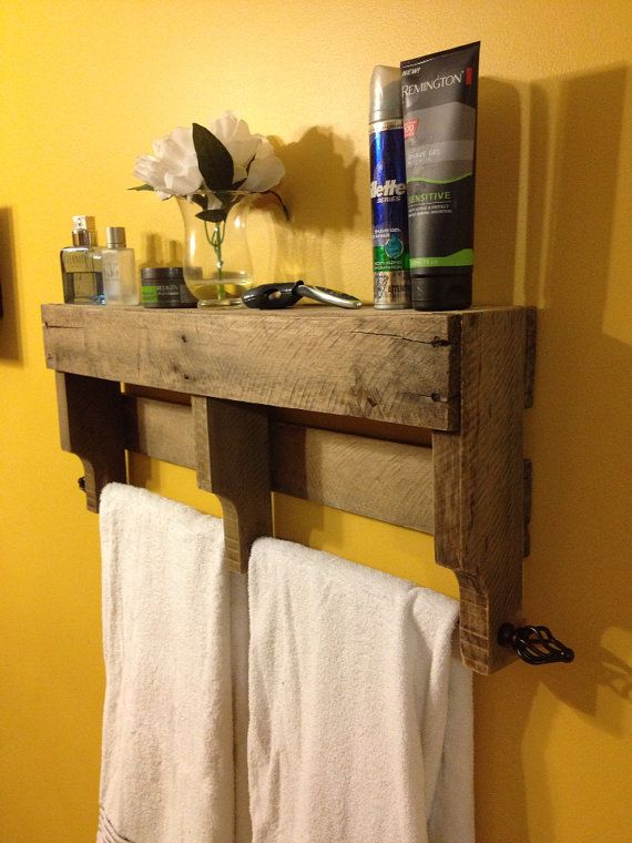 Rustic Pallet Towel Rack Shelf For Bathroom. This would be so easy to make. As apposed to that price!!