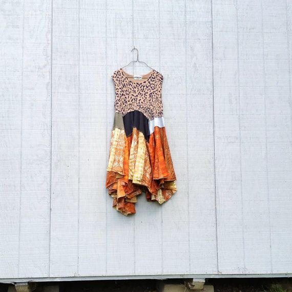 funky lagenlook fall tunic upcycled romantic Upcycled clothing Patchwork Dress Eco Dress / Artsy Dress by CreoleSha