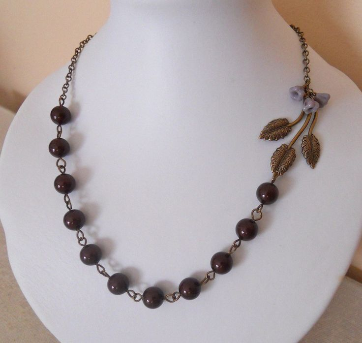 Statement Necklace Leaves branch necklace Brass Flower branch Burgundy pearls Wedding Necklace Antiqued Brass Chain Free Shipping 29.00 USD Available at http://ift.tt/1NM3wVS