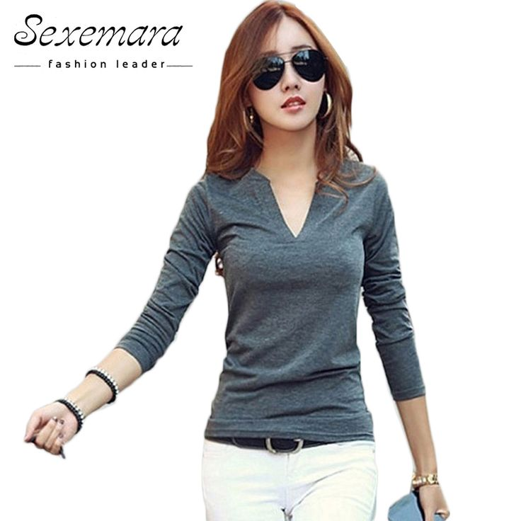 Price-4$       2017 solid 14 colors V-Neck  Blouses Sexy Slim Knitted Long Sleeve Chemise Femme Korean Tops for Women clothing Shirt Top Blouse