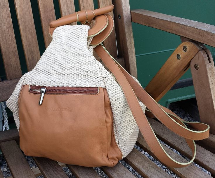 Vintage Russell and Bromley Backpack, Brown leather and Hessian weave Backpack.  Cream and light brown leather Festival Backpack, Summer Bag by LuckSy on Etsy