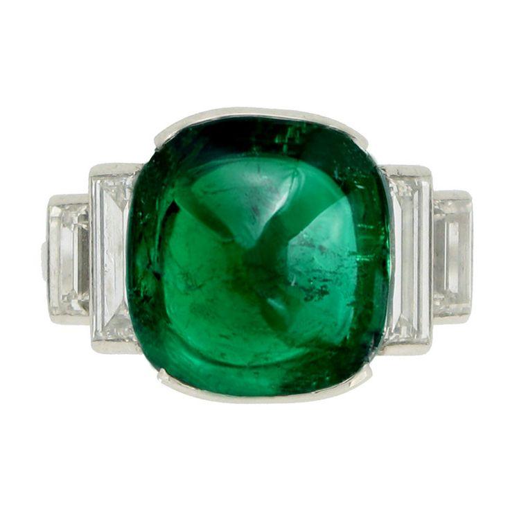 deco emerald cabochon ring c1935 jewelry