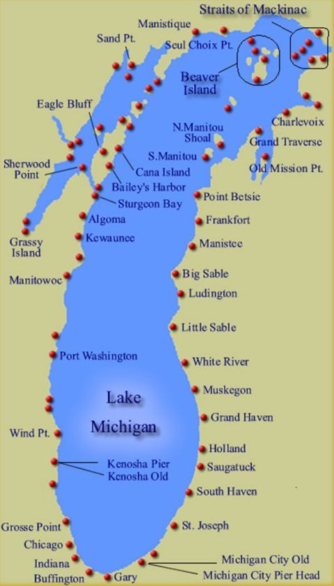 Map Showing The Approx 88 Lighthouses Along The Shoreline Of Lake