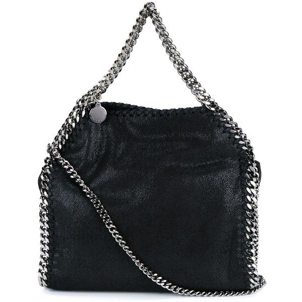 "Stella Mccartney ""Falabella"" Mini Bag (£470) ❤ liked on Polyvore featuring bags, handbags, black, pocket bag, chain purse, miniature purse, chain bag and mini purse"