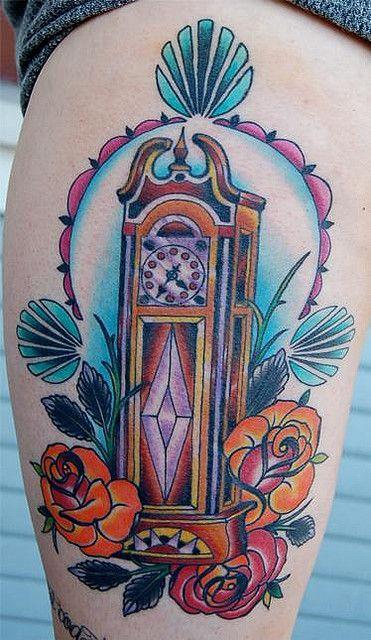 grandfather clock tattoos | Grandfather Clock Tattoo