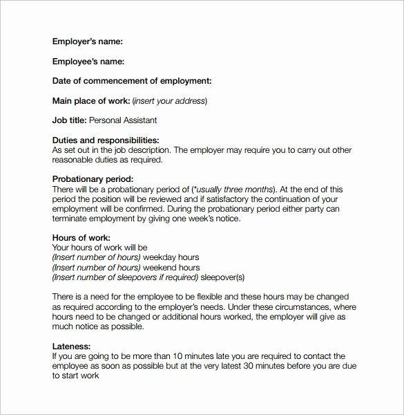 Simple Employment Contract Template Free Inspirational 10 Job
