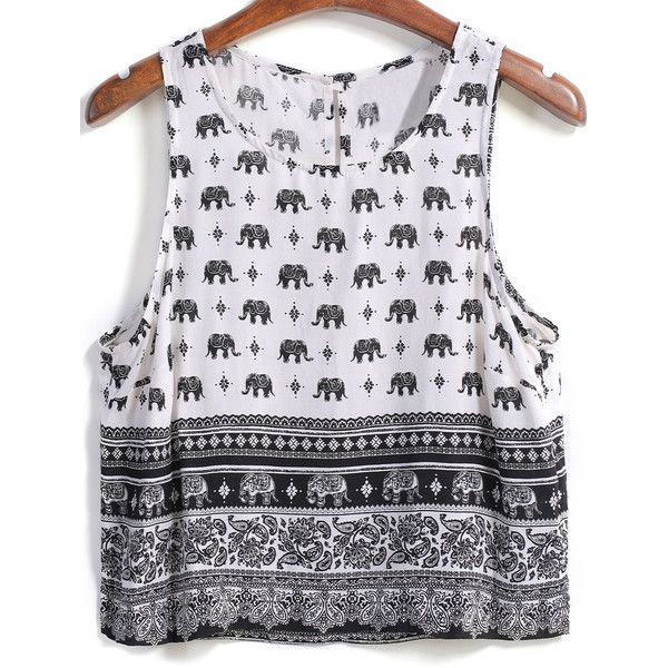Elephant Print Crop Tank Top ($13) ❤ liked on Polyvore featuring tops, shirts, crop tops, blusas, white, white crop tank, elephant shirt, elephant tank top, white tank and cotton shirts