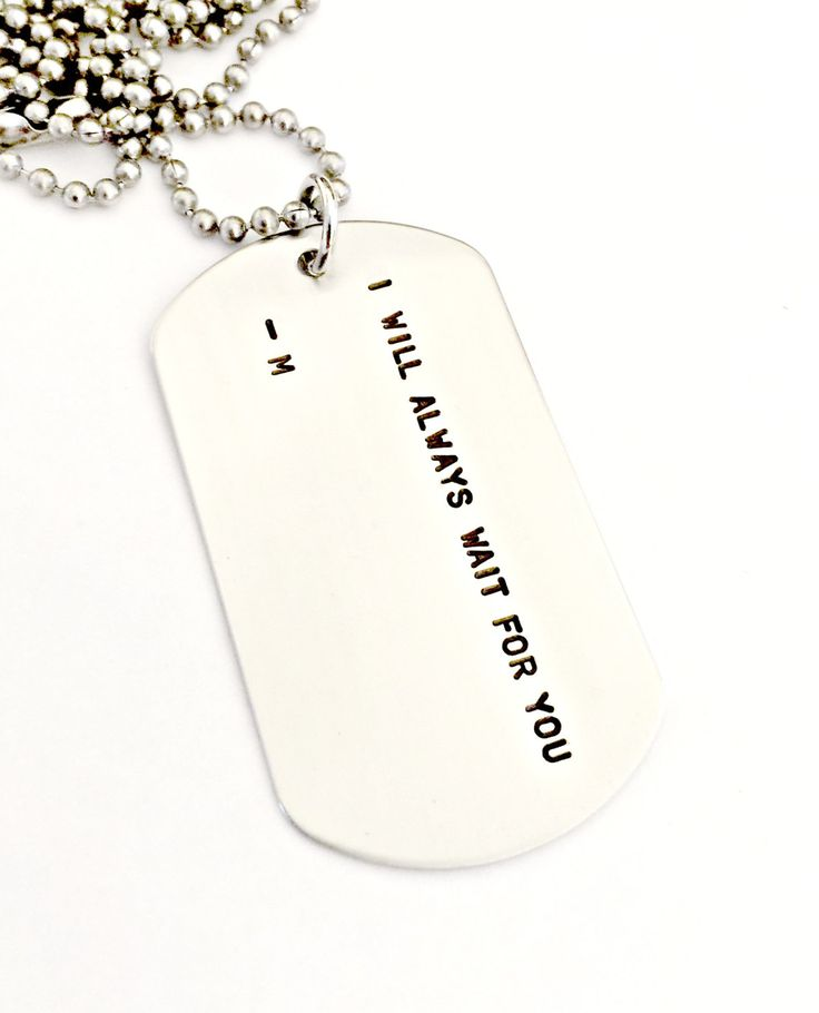 Personalized Dog Tag Necklace - Hand Stamped Custom Wait For You Jewelry - Military Soldier Wife Deployment Long Distance Love Service Gift by ForeverHeartPrints on Etsy