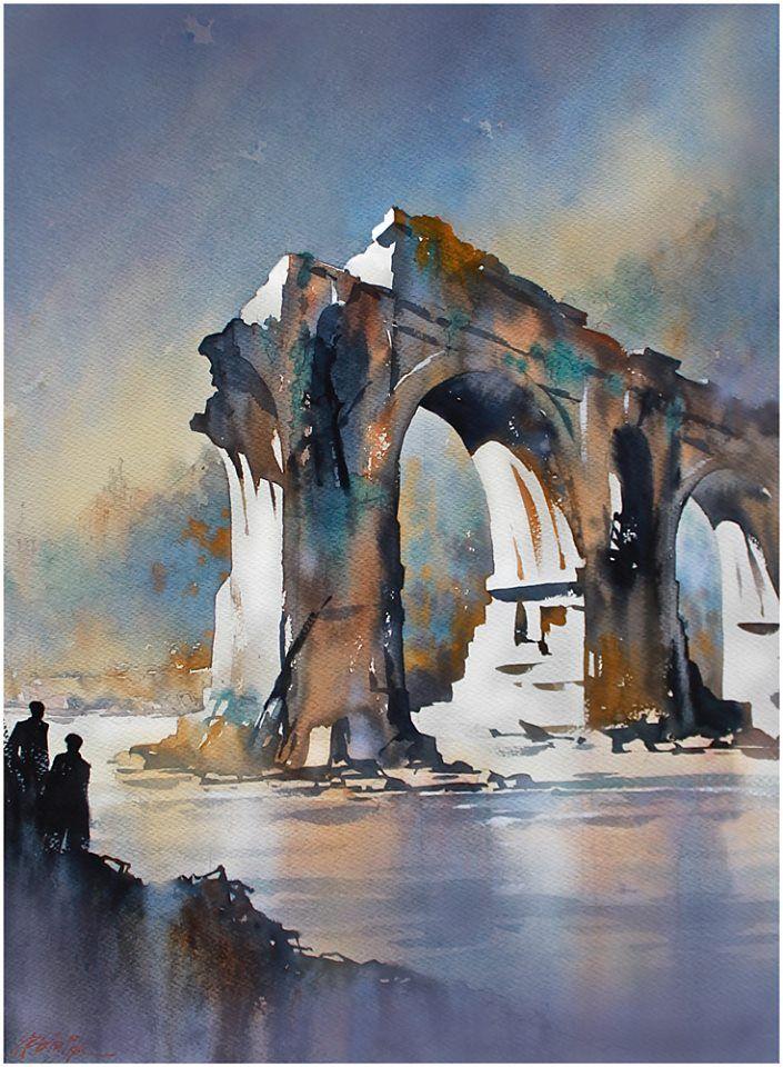 """ponte rotto - rome"" thomas w schaller watercolor 30x22 inches 06 march 2014"