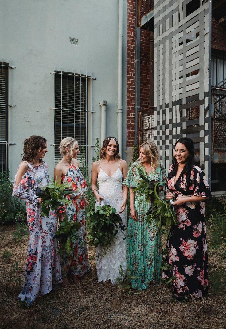 Urban-Chic Los Angeles Wedding: Haley + Austin | Floral bridesmaid ...