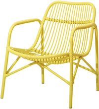 Cane Lounge Chair Soft Yellow