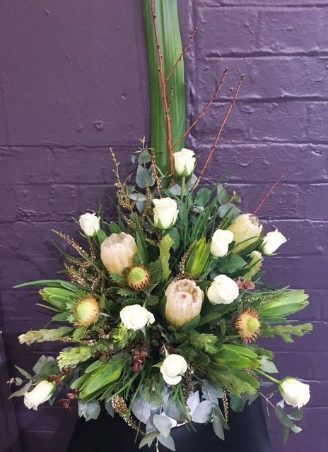 Symmetrical arrangement with Natives  @Lauren Alyce Floral Design #LaurenAlyceFloralDesign